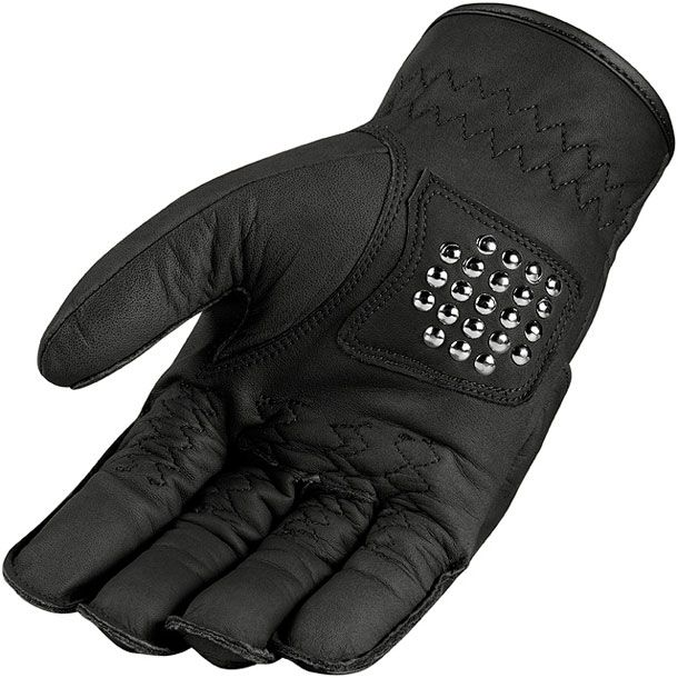Mens Icon 1000 Black Leather Rimfire Motorcycle Riding Street Racing Gloves