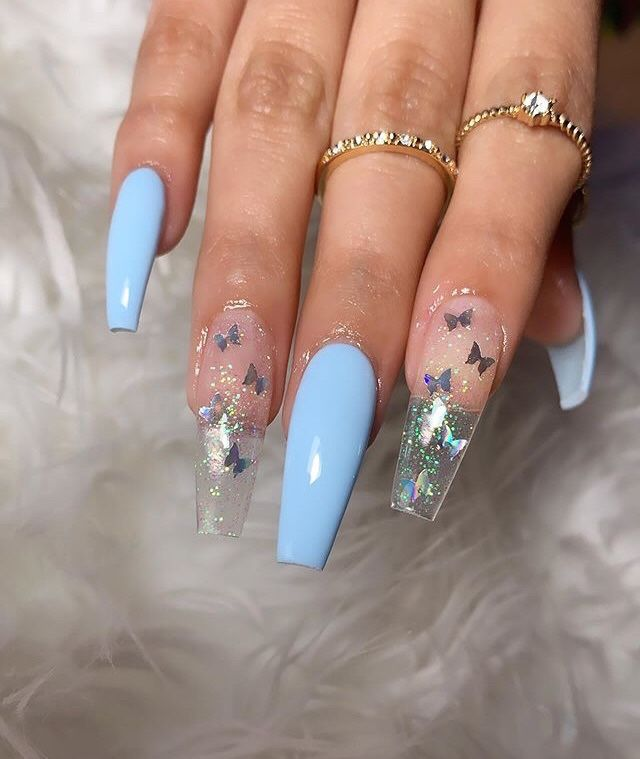 Light Blue Acrylic Nails Ballerina