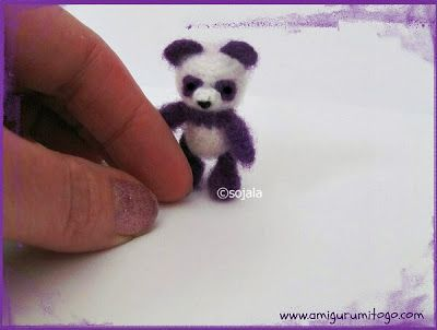Miniature Purple Panda Crochet Thread Pattern