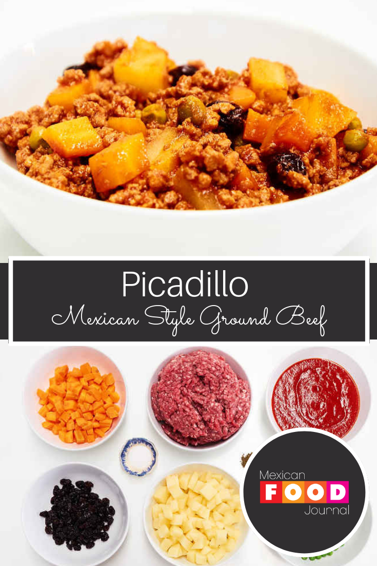 Mexican Style Ground Beef With Carrots Potatoes Green Peas Raisins And Tomato Sauce Great As A Taco Filling Over White R Mexican Food Recipes Food Recipes