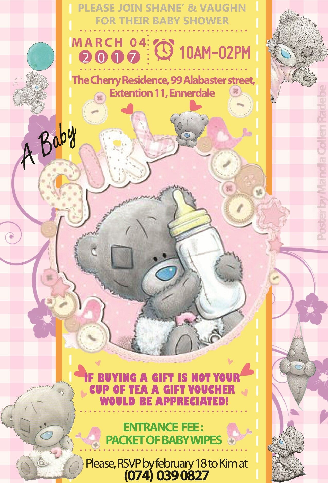 Tatty Teddy Bear Baby Shower Invitation