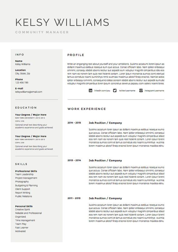 5 page Resume Template / CV Template Pack + Cover Letter ...
