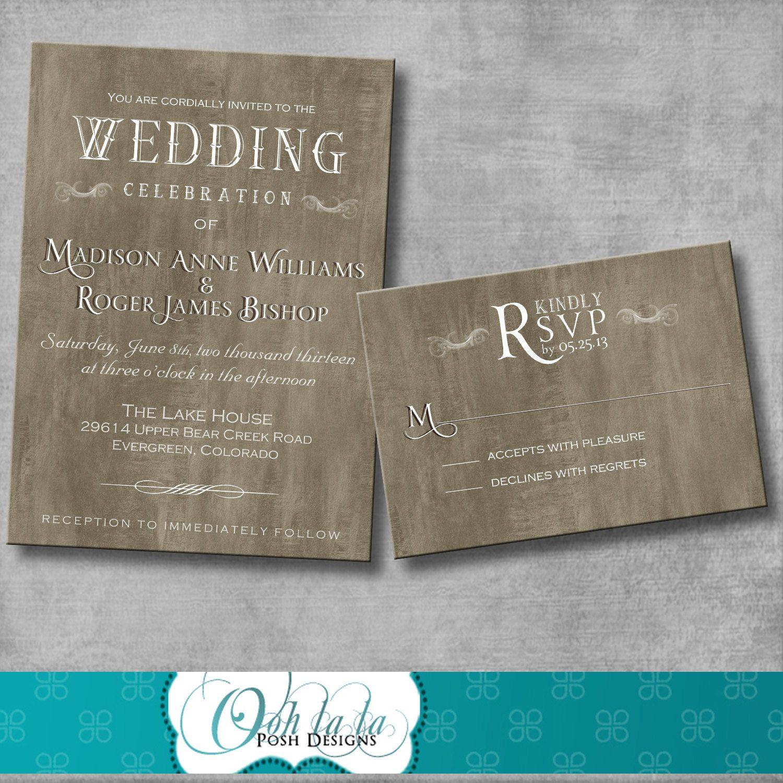 Rustic elegant wedding invitation with matching response card diy rustic elegant wedding invitation with matching response card diy printable customizable solutioingenieria Images