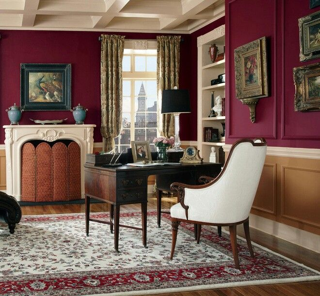 add a dash of cranberry red on your walls office wall on home office color trends id=50479
