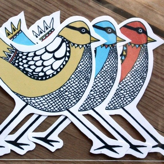 I thought I was too old for stickers, & then I saw these!   Sticker Set  Three Masked Birds by sloeginfizz on Etsy, $3.75