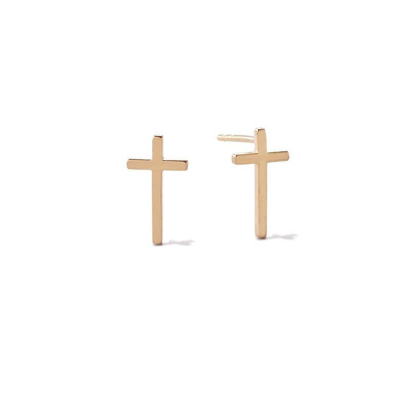 Cross Post Earrings in Gold Plated