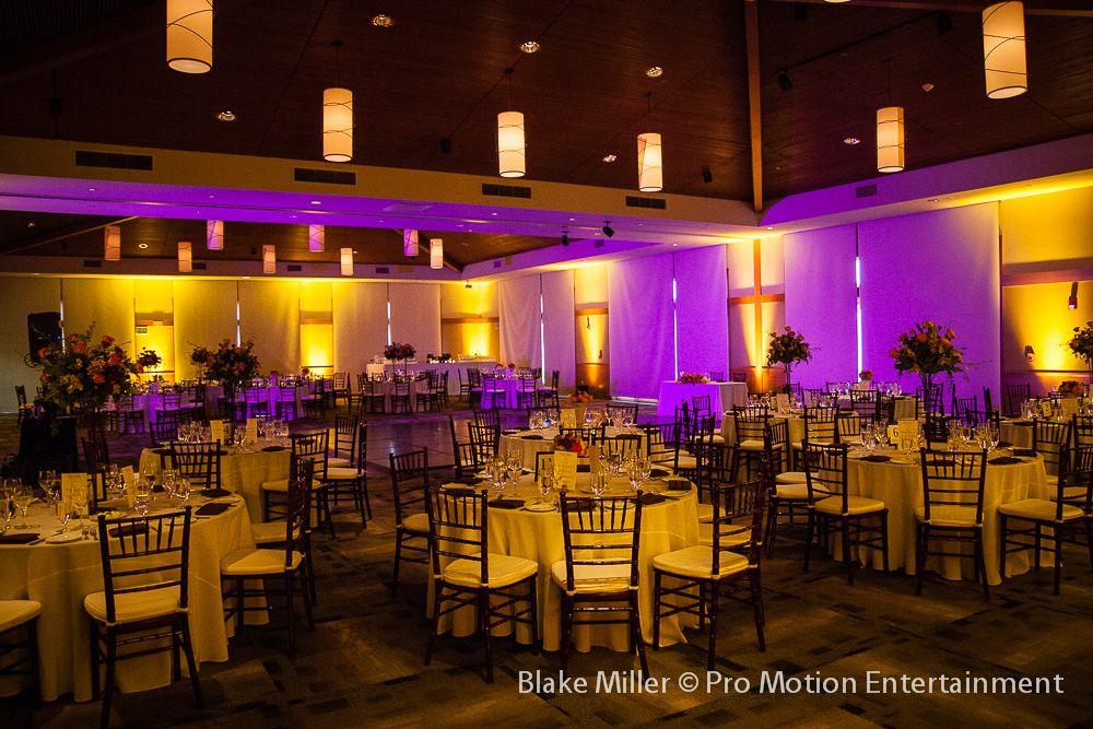 Amber Uplighting Fuchsia Wash Lighting Coronado Community Center Wedding Reception