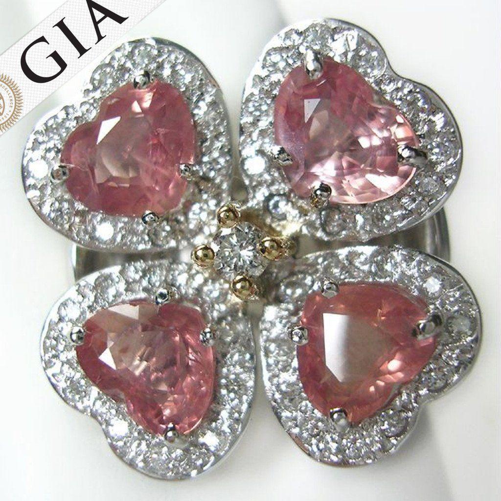 Gia certificate ct padparadscha sapphire u diamond ring