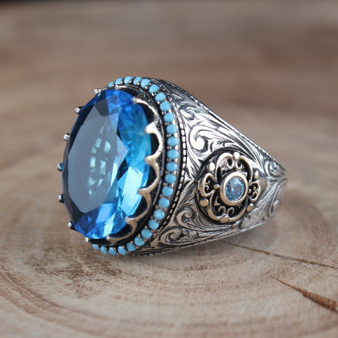 Handmade Silver Aquamarine Men Rings Ring Real sterling silver 925 art design jewelry Ups free express shipping. Unique men ring