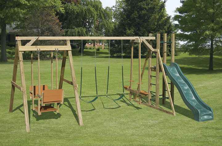 Amish Built Outdoor Playground Swingsets Quality Construction Wood Swing Sets Wood Swing Swing Set Diy