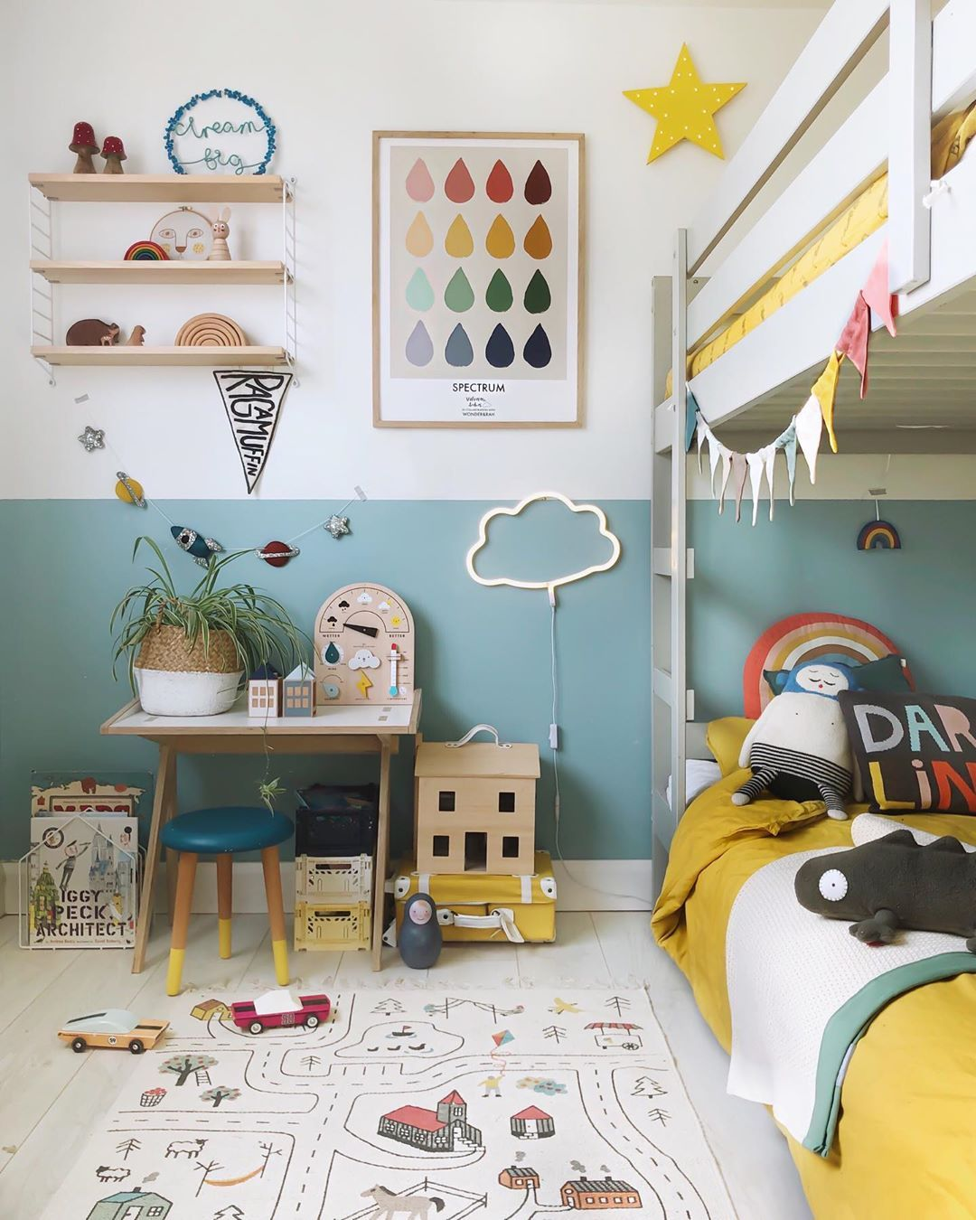 """Photo of Velveteen Babies – Kids Decor on Instagram: """"Always inevitably some form of droplet, rainbow, star and cloud in all my kids rooms, and cushions, always cushions. It's me with a serious…"""""""