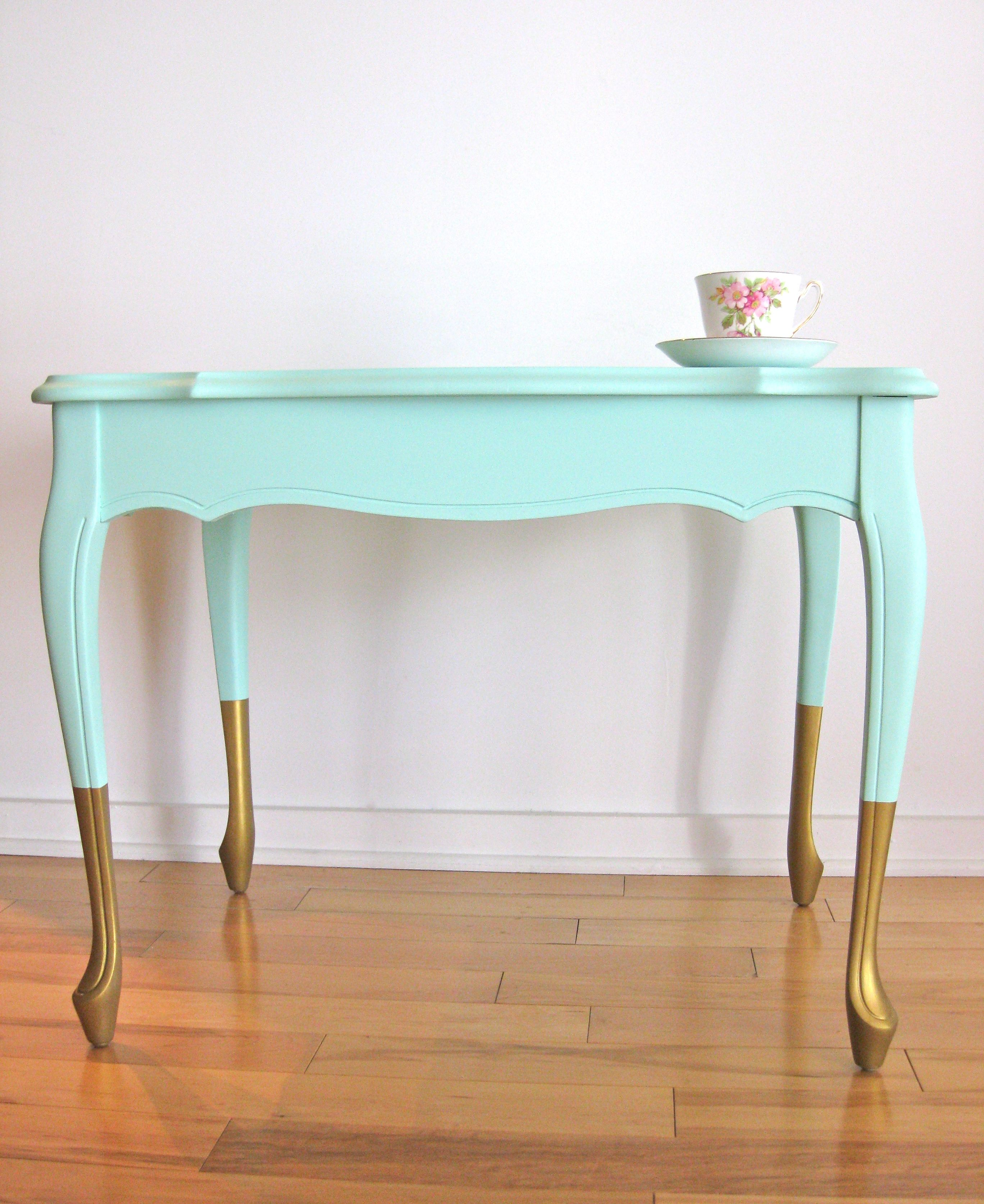 Table Basse Menthe Et Or / Mint And Gold Coffee Table
