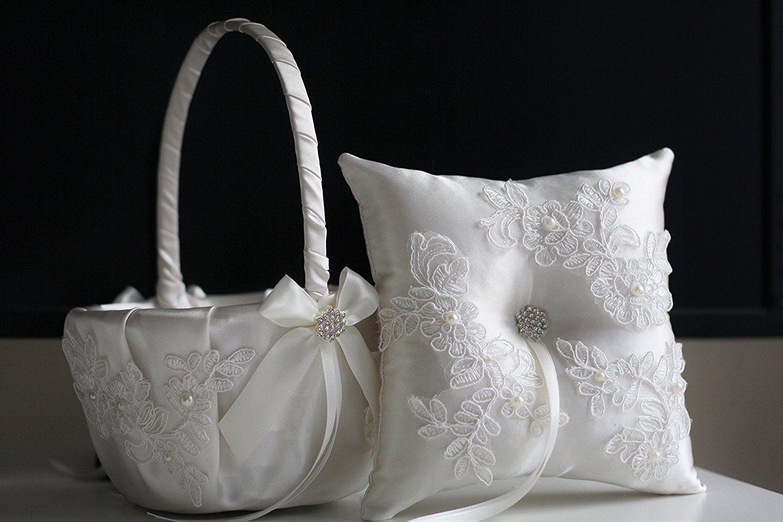 White Ring Bearer Pillow & Wedding Flower Girl