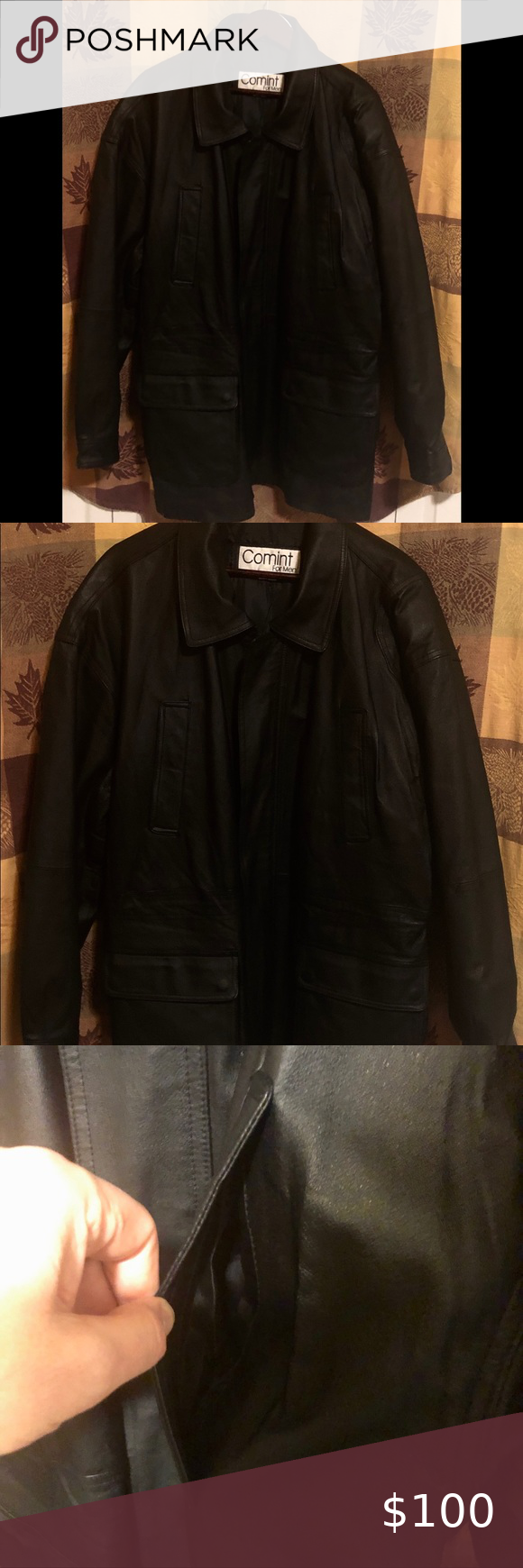 Comint Leather Coat 34 Inches Collar To Hem Clothes Design Vintage Leather Jacket Fashion [ 1740 x 580 Pixel ]