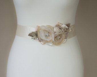 Cinturón de novia Champagne cinturón nupcial boda por LeFlowers