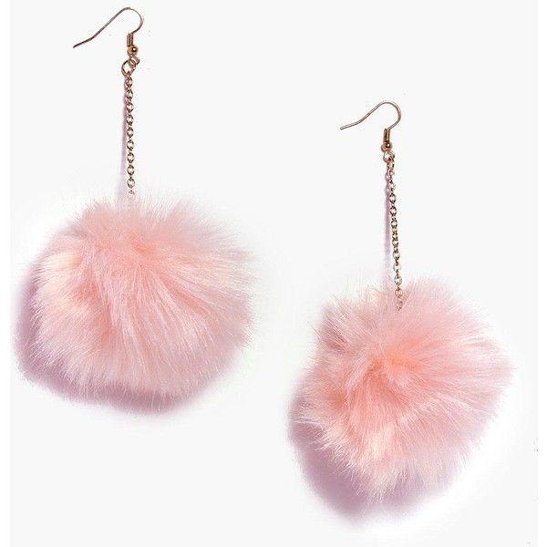 Boohoo Grace Faux Fur Pom Pom Earrings ($7) ❤ liked on Polyvore featuring jewelry, earrings, pink, pom pom earrings, stackers jewelry, ear cuff jewelry, pink pendant necklace and pendant necklace