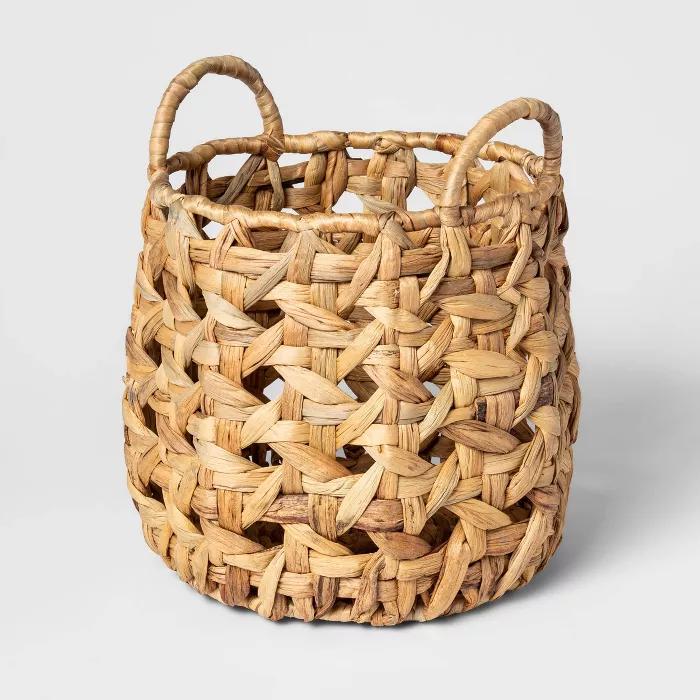Decorative Cane Pattern 8 Sided Open Weave Basket