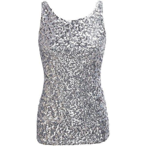 7903c8f4cf7b53 PrettyGuide Women Shimmer Glam Sequin Embellished Sparkle Tank Top... ( 13)  ❤