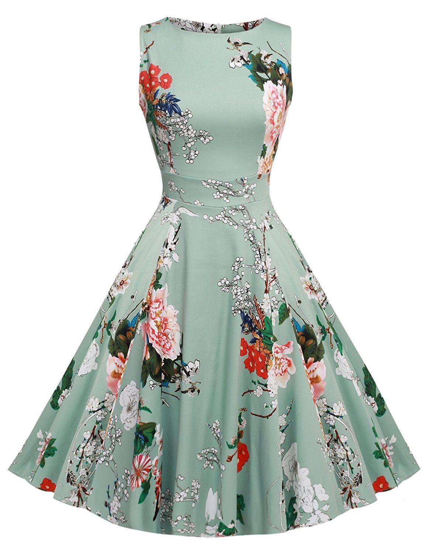 cad11a687a8 ACEVOG Women s Classy Audrey Hepburn 1950s Vintage Rockabilly Swing Dress   Amazon.ca  Clothing   Accessories