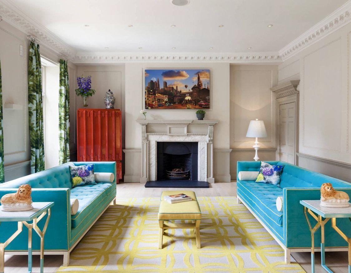 Turquoise Sofa Blue Sofa Blue Midcentury Living Room Design