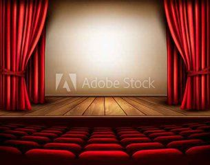 A Theater Stage With A Red Curtain Seats Vector Red Curtains