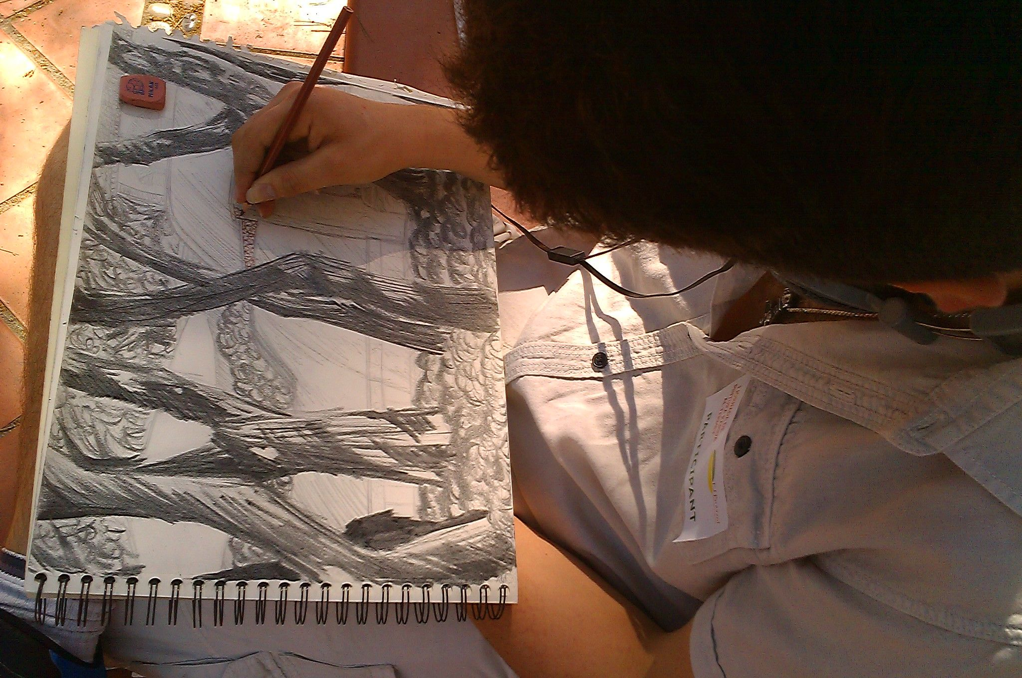 Pintando al carboncillo los pinos del paraje el Termet de Vila-real.