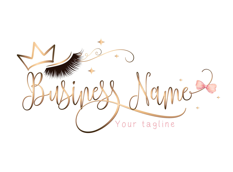 Custom logo, pink gold lashes logo, eyelash gold crown