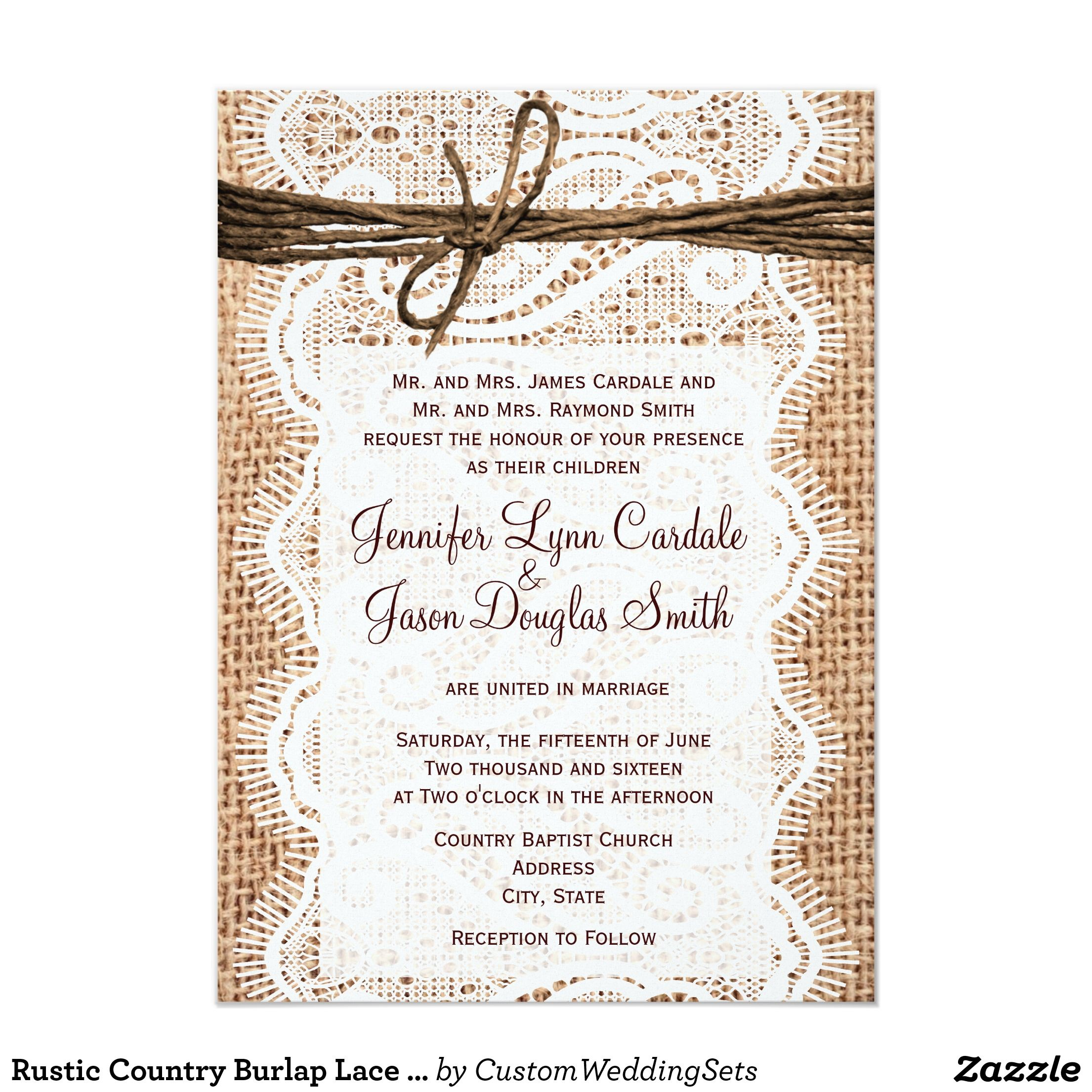 Rustic Country Burlap Lace Twine Wedding Invites | Burlap lace ...