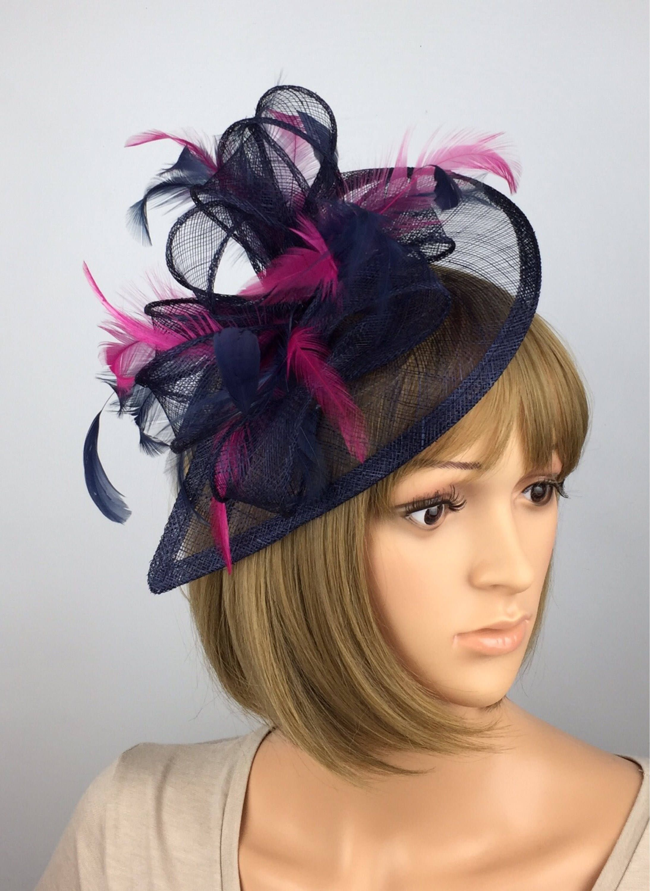 13162197 Excited to share the latest addition to my #etsy shop: Dark Blue Navy Blue  and Fuchsia Pink Fascinator Sinamay Fascinator Wedding Mother Bride Ladies  Day ...