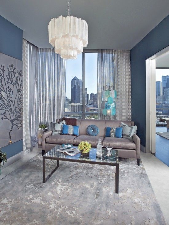 Peacock Blue And Gray Design Ideas Pictures Remodel And Decor Silver Living Room Light Blue Living Room Monochromatic Room #peacock #decor #for #living #room