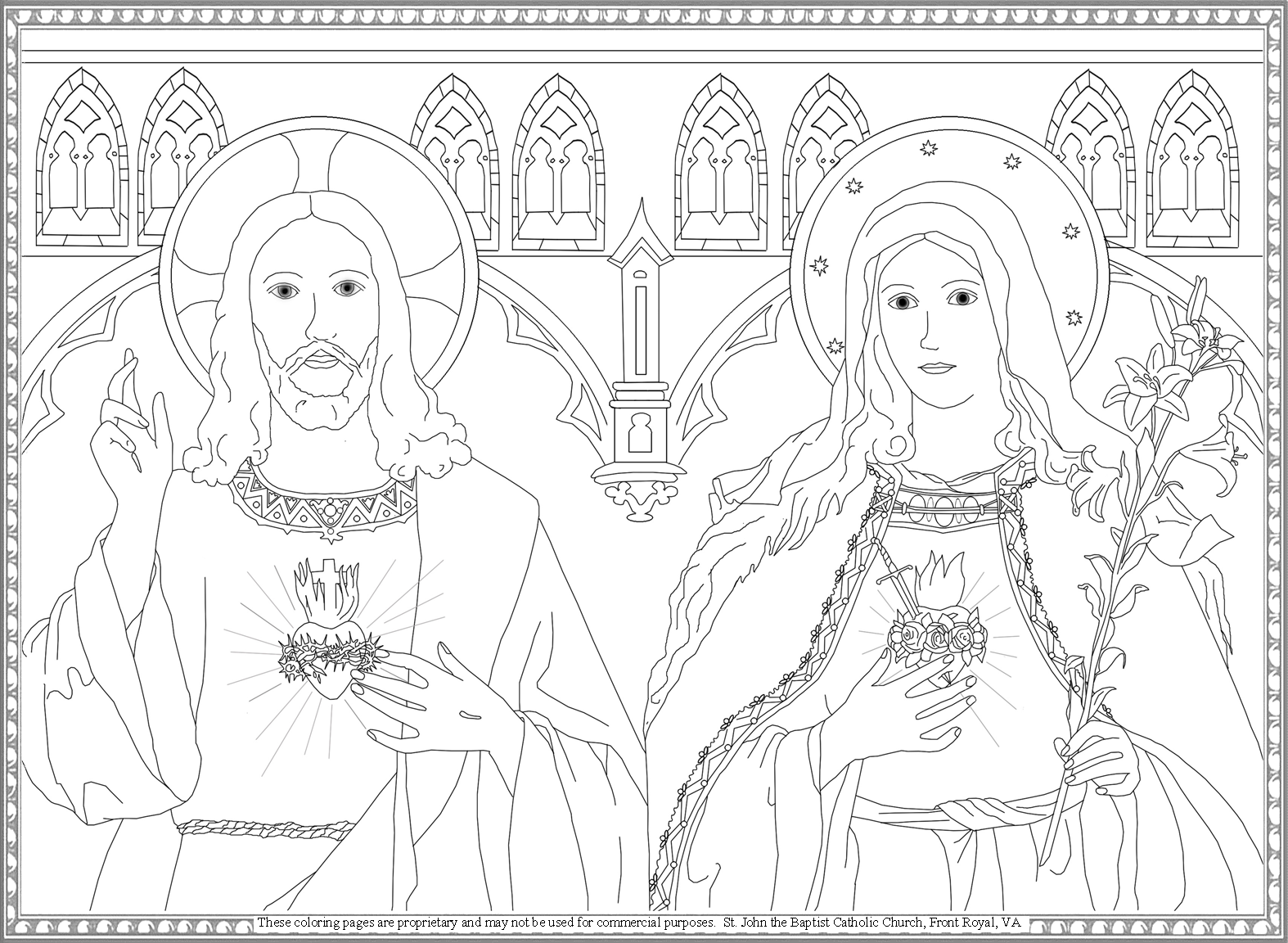 Sacred Heart of Jesus and Immaculate Heart of Mary coloring page ...