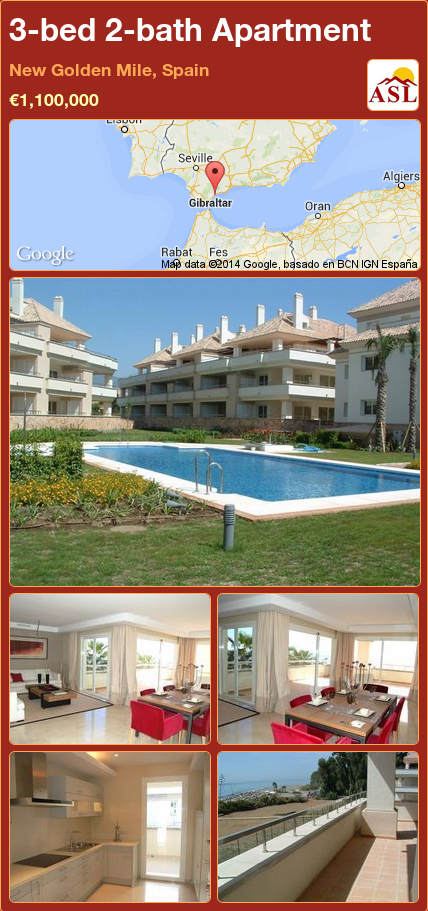 3-bed 2-bath Apartment in New Golden Mile, Spain ▻€1,100,000 ...