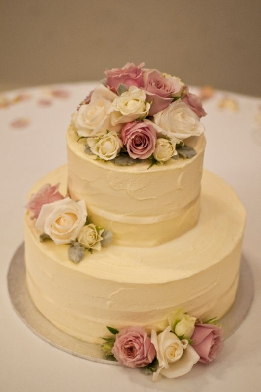 BCG37 Round 2 tier small wedding cake iced in a soft buttercream ...