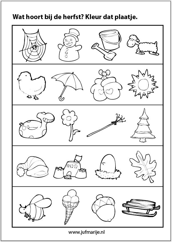 Werkblad sorteren: Wat hoort bij de herfst? | tvoření | Pinterest ...