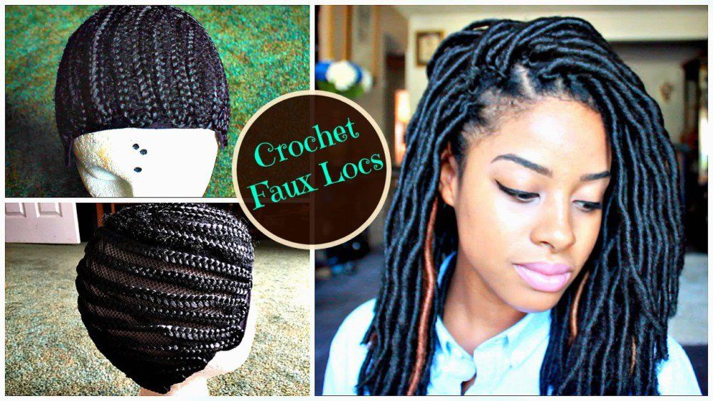 """How to Install """"Natural Looking"""" Crochet Faux Locs on Braided Cap 