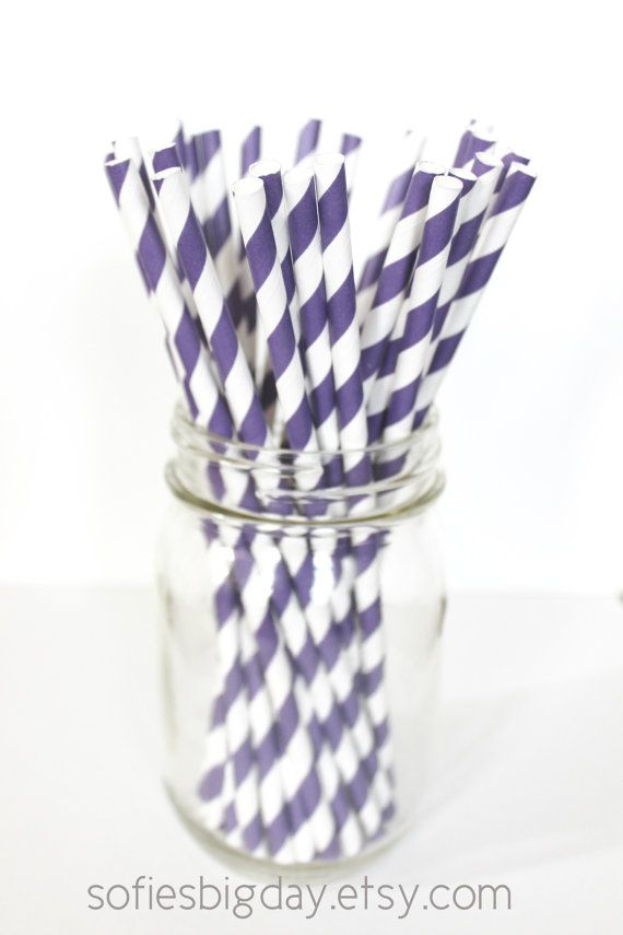 PURPLE STRIPE Staws-retro paper straws-cake pop sticks-lavender stripe straws-stripe paper straws-25 count