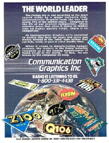 RADIO station stickers... and more!: Communication Graphics Inc.'s magazine ad (1992)
