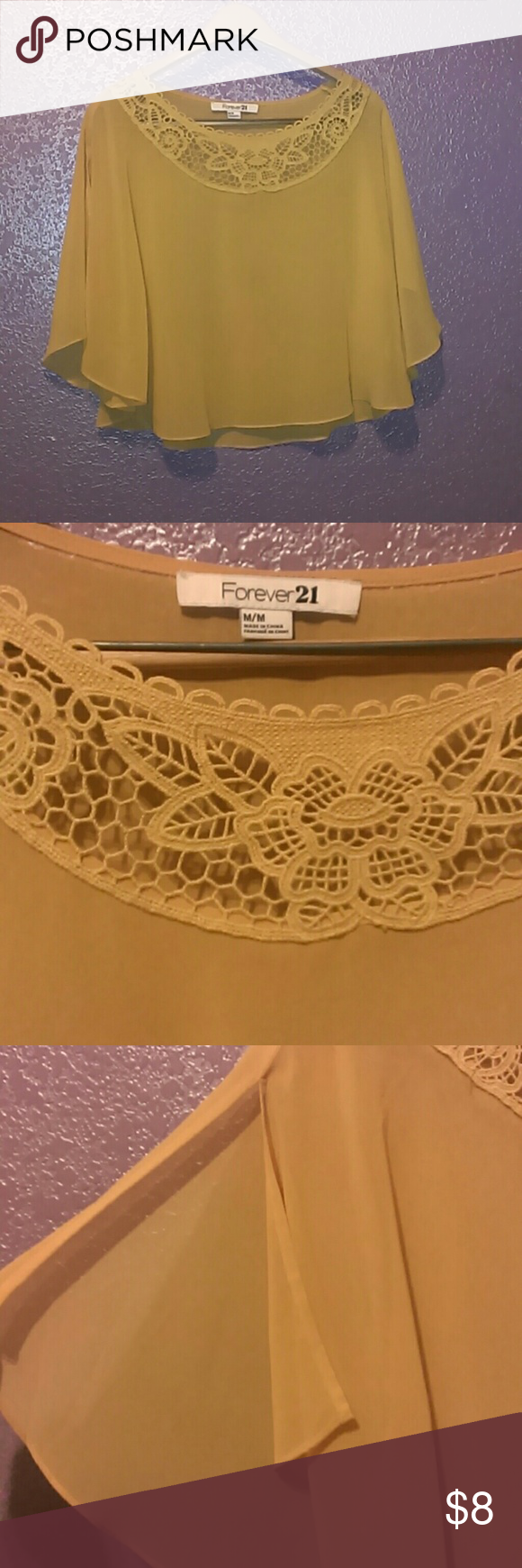 Forever 21 Beautiful blouse. Gorgeous blouse open sleeve.   Lace top.  Super cute mustard yellow. Forever 21 Tops Blouses