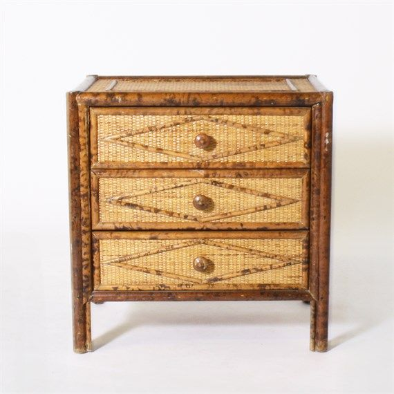 Burnt bamboo side table with drawers, c. 1960