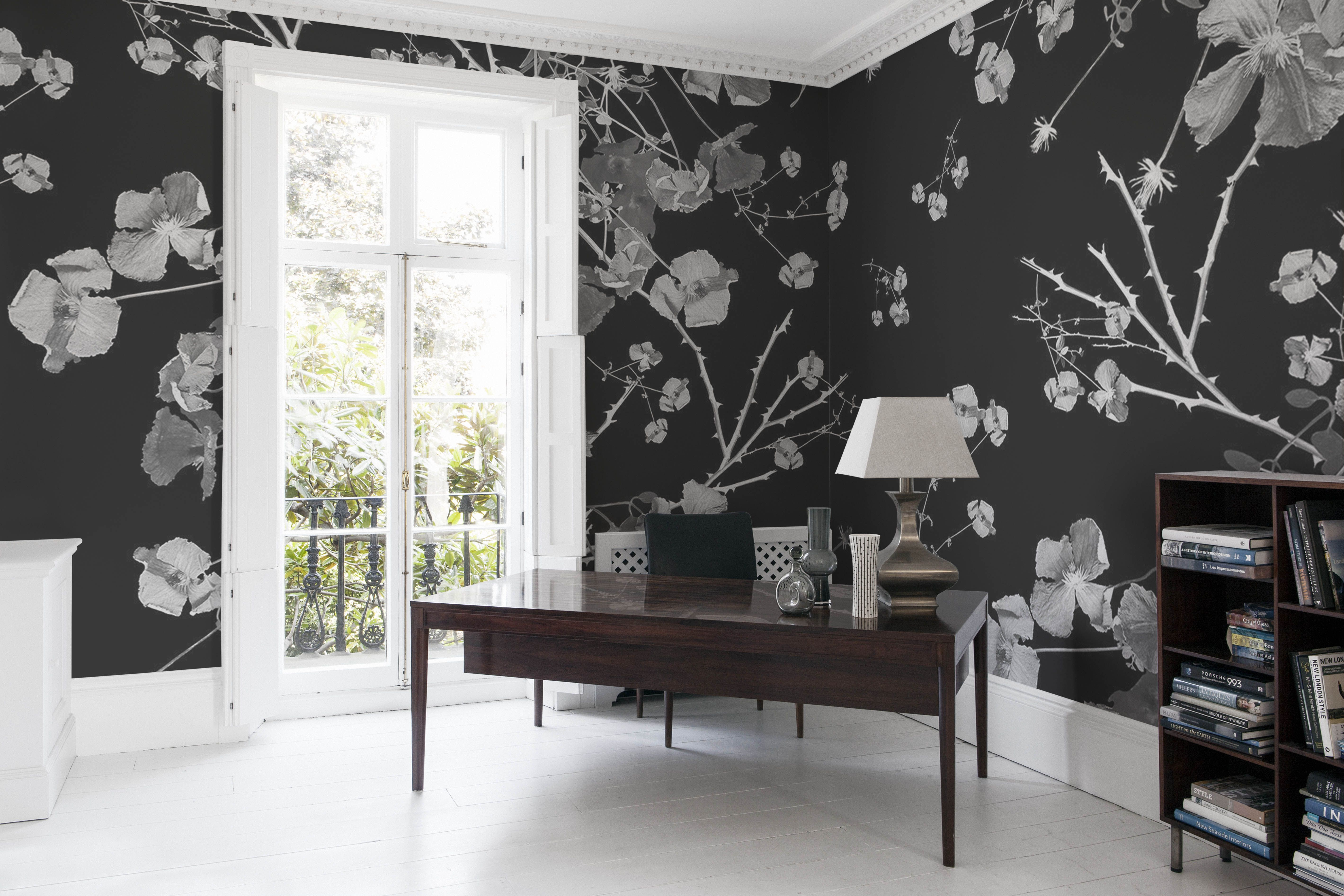 Clematis Black on White Mural Wall murals Bespoke and Walls