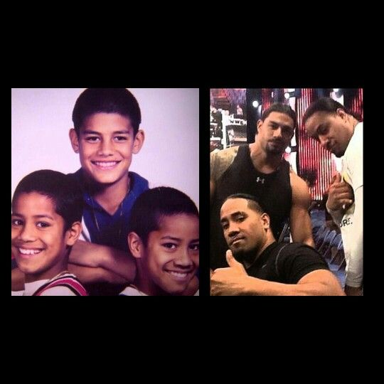 Then and now roman reigns, jey uso and jimmy uso