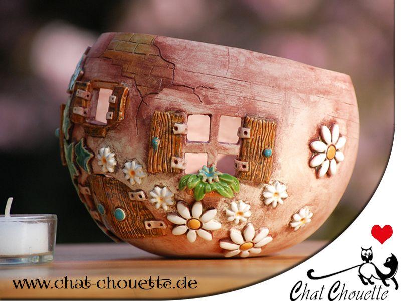 elfenhaus windlicht aus keramik von chat chouette auf fimo und keramik pinterest. Black Bedroom Furniture Sets. Home Design Ideas