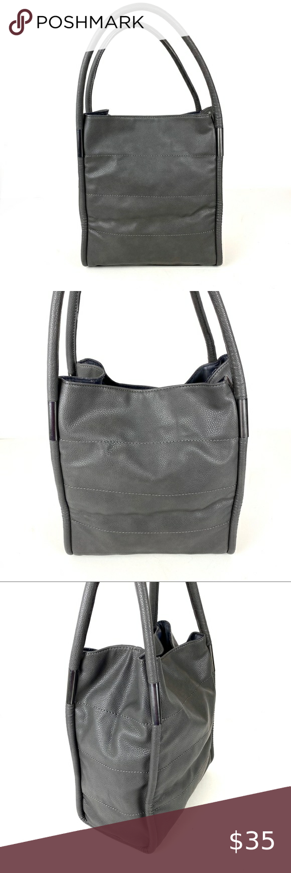 Neiman Marcus Gray Tote Bag Leather In 2020 Tote Bag Leather Grey Tote Bags Grey Tote