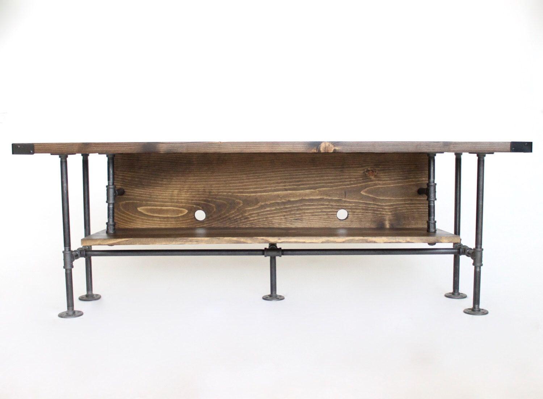Rustic Tv Stand Industrial Tv Console Media Cabinet Plumbing  # Meuble Tv Wayne