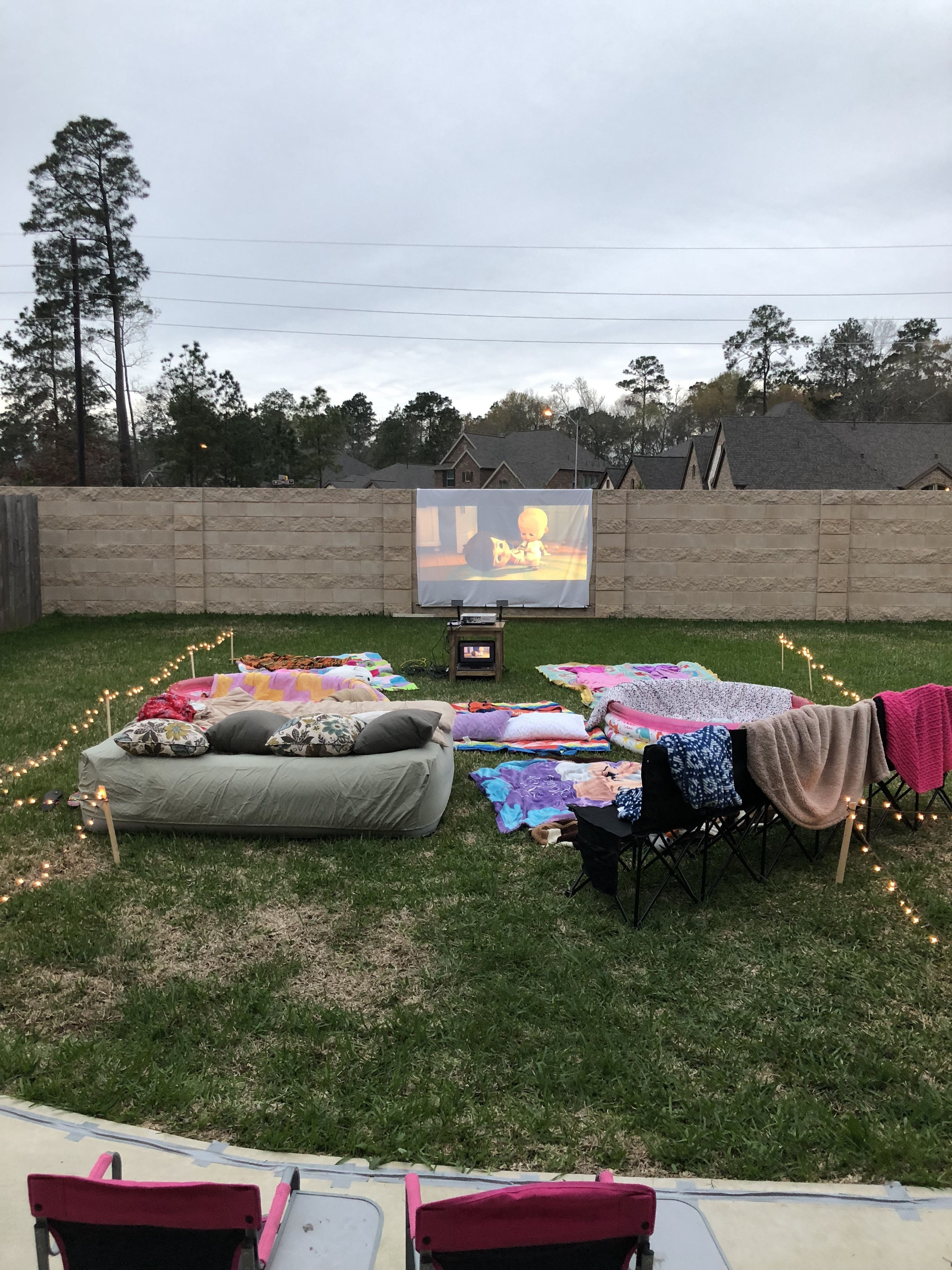 17th Birthday Party Ideas Winter Backyard Movie Birthday Party Backyard Camping Parties Backyard Movie Party Backyard Movie Nights