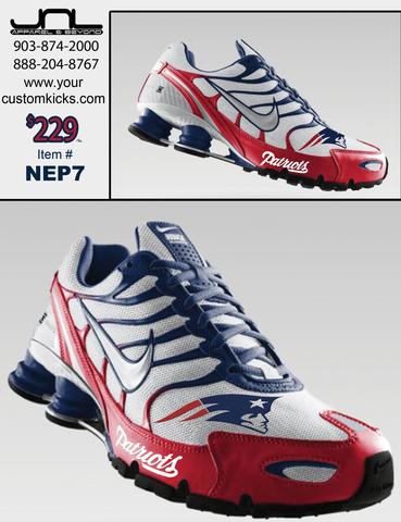 premium selection 901ea 1075b Custom New England Patriots Nike Turbo Shox – JNL Apparel