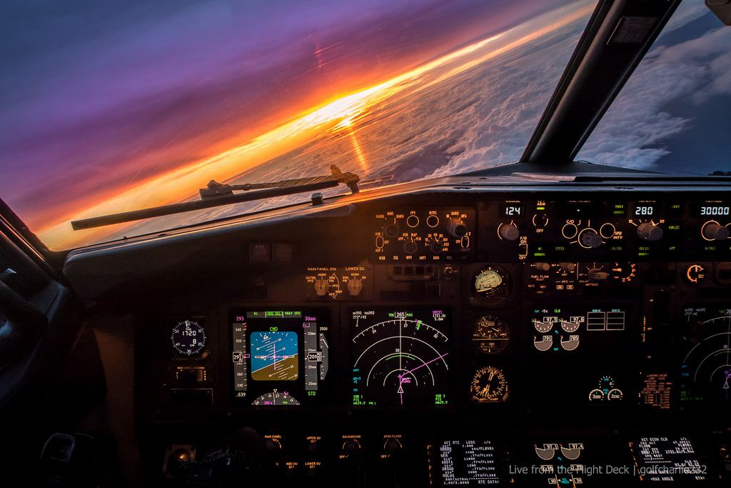 Sunset From A Boeing 737 Boeing Pilot Cockpit