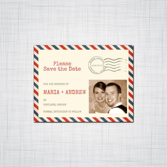 Vintage Airmail Save the Date, Save-the-date, Engagement Announcement, wedding Save the Dates, Photo Save the Date, Digital Download, DIY