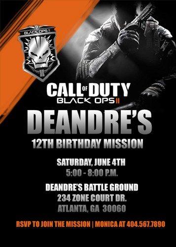 Call of duty black opps ii custom birthday invitation parties call of duty black opps ii custom birthday invitation filmwisefo Image collections