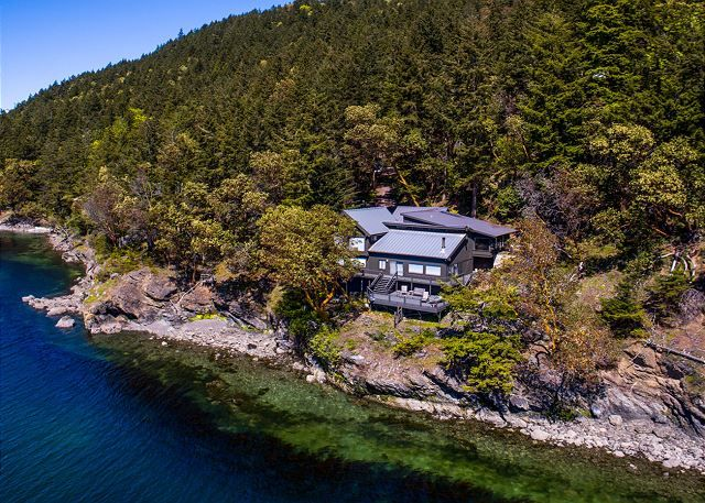 Orcas Island, #sanjuanislands vacation rental. Peaceful Cove is a breathtaking  water-front home near #Rosario Resort. Tucked away in its own cove this unique custom built home is ideal for your relaxing stay on Orcas Island. #travel